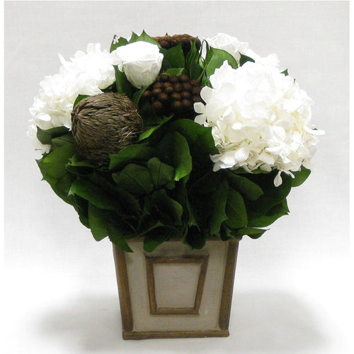 Small Wooden Square Container Patina Distressed w/ Bronze - Roses White, Banksia Bronze, Brunia Brown & Hydrangea White