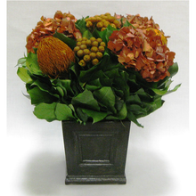 Load image into Gallery viewer, Wooden Mini Square Planter w/Inset Black Antique - Banksia, Brunia and Hydrangea Rust Brown