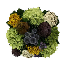 Load image into Gallery viewer, [WMSPI-DG-ECHDB] Wooden Mini Square Container w/ Inset Dark Blue Grey w/ Gold - Echinops w/Banksia, Brunia, Pharalis & Hydrangea Basil