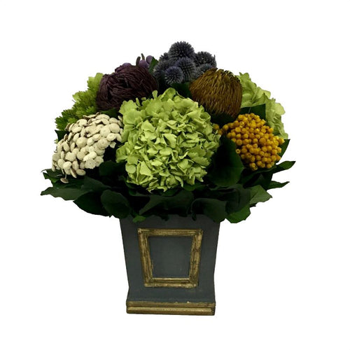 Wooden Mini Square Container w/ Inset Dark Blue Grey w/ Gold - Echinops w/Banksia, Brunia, Pharalis & Hydrangea Basil