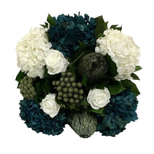Load image into Gallery viewer, [WMSPI-DS-RHDNBHDW] Wooden Mini Square Container w/ Inset Dark Grey w/ Silver - White, Brunia Natural Brunia, Hydrangea Natural Blue & White