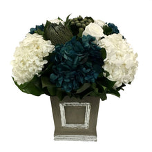 Load image into Gallery viewer, Wooden Mini Square Container w/ Inset Dark Grey w/ Silver - White, Brunia Natural Brunia, Hydrangea Natural Blue & White
