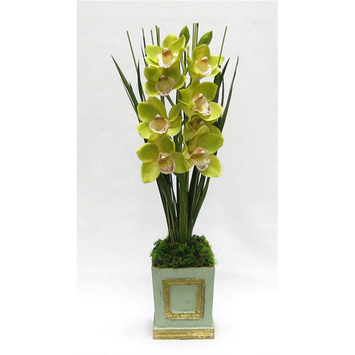 Wooden Small Square Container w/Inset Gray/Green - Cymbidium Green Orchid Artificial