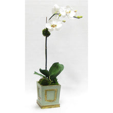 Load image into Gallery viewer, Wooden Small Square Container w/Inset Gray/Green - White & Green Two Spike Orchid Artificial