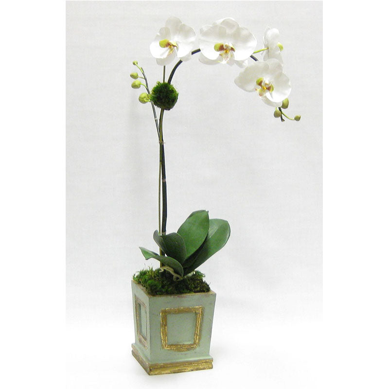 Wooden Small Square Container w/Inset Grey Green - White & Green Orchid Artificial