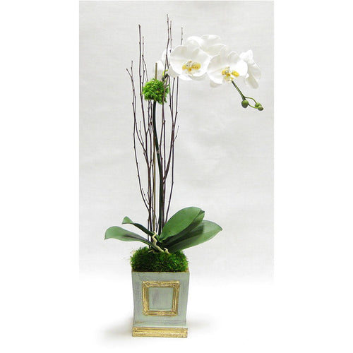 Wooden Small Square Container w/Inset Grey Green - White & Yellow Orchid Artificial