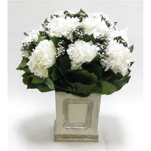 Wooden Mini Square Container w/Inset Grey Silver - Phylica White & Hydrangea White