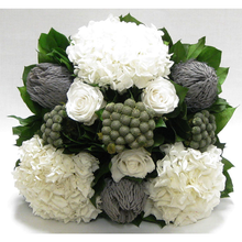 Load image into Gallery viewer, [WMSPI-GS-RBKBRHDW] Wooden Small Square Container w/Inset Grey/Silver - Roses, Branksia, Brunia & Hydrangea White