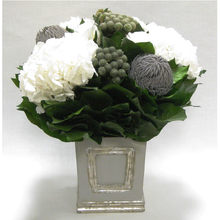 Load image into Gallery viewer, Wooden Small Square Container w/Inset Grey/Silver - Roses, Branksia, Brunia & Hydrangea White