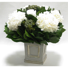 Load image into Gallery viewer, [WMSPI-GS-RWHDW] Wooden Small Square Container w/Inset Grey/Silver - Roses, Brunia & Hydrangea White