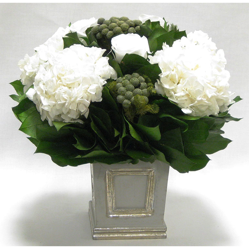 Wooden Small Square Container w/Inset Grey/Silver - Roses, Brunia & Hydrangea White