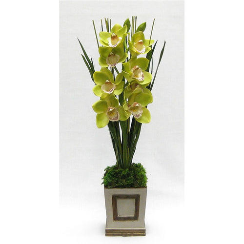 Wooden Small Square Container w/Inset Patina Distressed - Cymbidium Green Orchid Artificial