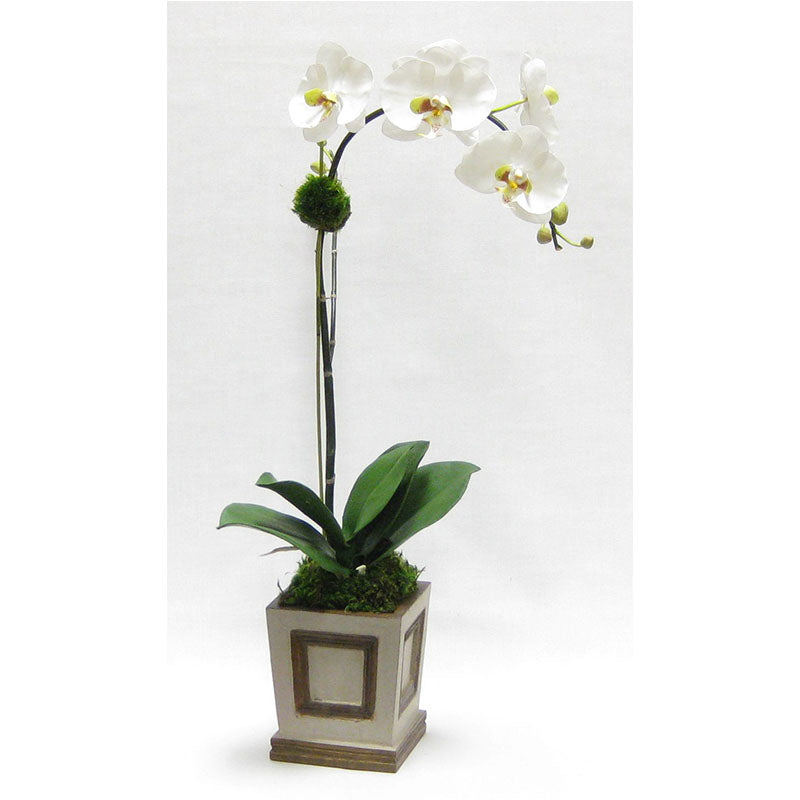 Wooden Small Square Container w/Inset Patina Distressed w/Bronze - White & Green Orchid Artificial