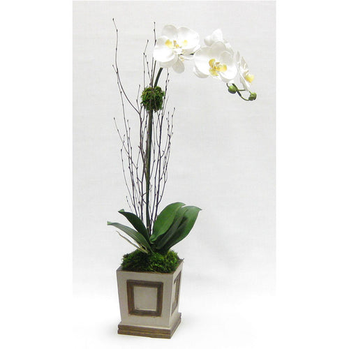 Wooden Small Square Container w/Inset Patina Distressed w/Bronze - White & Yellow Orchid Artificial