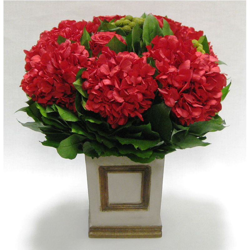 Wooden Small Square Container w/Inset Patina Distressed - Roses, Brunia & Hydrangea Red