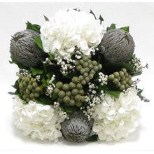 Load image into Gallery viewer, [WMSPI-WA-BKGYHDW] Wooden Mini Square Planter w/Inset Natural - Banksia Gray, Brunia Natural & Hydrangea White