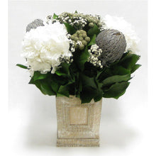 Load image into Gallery viewer, Wooden Mini Square Planter w/Inset Natural - Banksia Gray, Brunia Natural & Hydrangea White