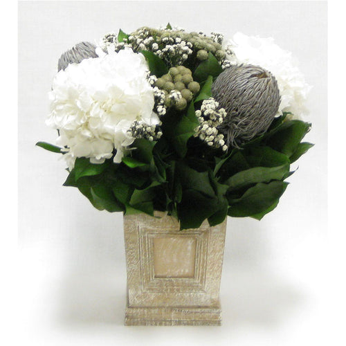 Wooden Mini Square Planter w/Inset Natural - Banksia Gray, Brunia Natural & Hydrangea White