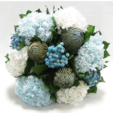 Load image into Gallery viewer, [WMSPI-WA-BKHDIBHDW] Wooden Mini Square Container w/Inset Natural - Banksia Blue, Buttons Blue, Hydrangea Ice Blue & White