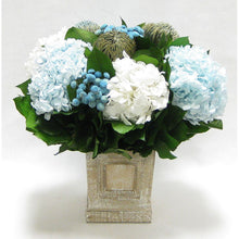 Load image into Gallery viewer, Wooden Mini Square Container w/Inset Natural - Banksia Blue, Buttons Blue, Hydrangea Ice Blue & White