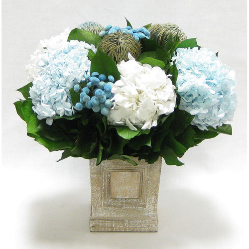 Wooden Mini Square Container w/Inset Natural - Banksia Blue, Buttons Blue, Hydrangea Ice Blue & White