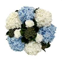 Load image into Gallery viewer, [WMSPI-WA-RHDIBHDW] Wooden Mini Square Container w/ Inset Weathered Antique - Roses White, Brunia Natural, Hydrangea White & Ice Blue