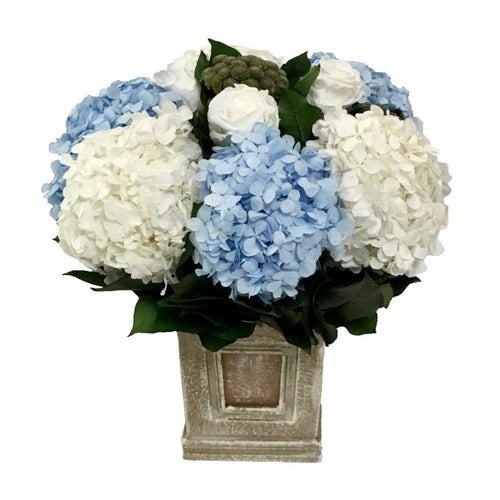 Wooden Mini Square Container w/ Inset Weathered Antique - Roses White, Brunia Natural, Hydrangea White & Ice Blue