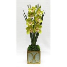 Load image into Gallery viewer, Wooden Mini Square Container w/ Half Circle Green & Antique Gold - Cymbidium Orchid Green Artificial