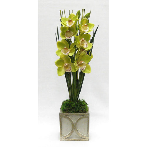 Wooden Mini Square Container w/ Half Circle Grey & Antique Silver - Cymbidium Orchid Green Artificial