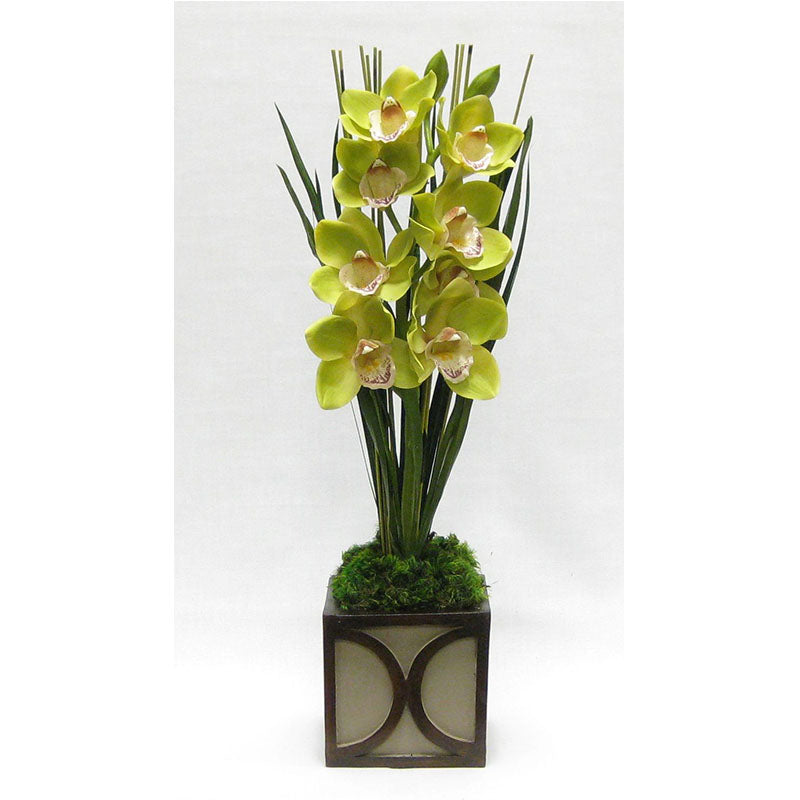 Wooden Mini Square Container w/ Half Circle Patina Distressed - Cymbidium Orchid Green Artificial
