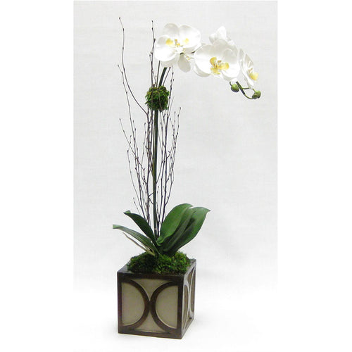 Wooden Mini Square Container w/ Half Circle - Patina Distressed w/ Antique Bronze - White & Yellow Orchid Artificial