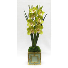 Load image into Gallery viewer, Wooden Mini Square Container w/ Square Green & Antique Gold - Cymbidium Orchid Green Artificial