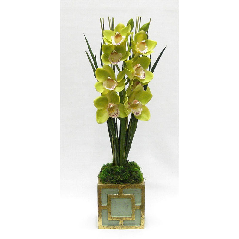 Wooden Mini Square Container w/ Square Green & Antique Gold - Cymbidium Orchid Green Artificial
