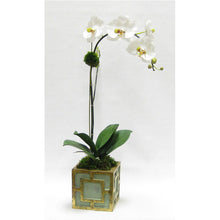 Load image into Gallery viewer, Wooden Mini Square Container w/ Square Green & Antique Gold - White & Green Orchid Artificial