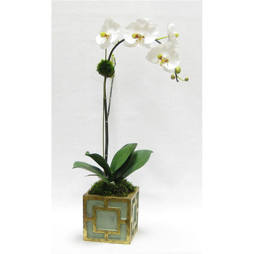 Wooden Mini Square Container w/ Square Green & Antique Gold - White & Green Orchid Artificial