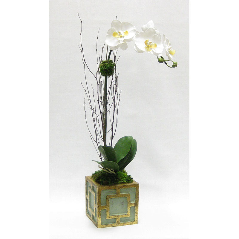 Wooden Mini Square Container w/ Square Green & Antique Gold - White & Yellow Orchid Artificial