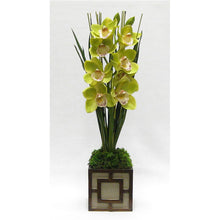 Load image into Gallery viewer, Wooden Mini Square Container w/ Square  Patina Distressed - Cymbidium Green Orchid Artificial