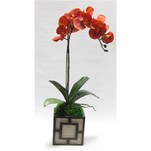 Load image into Gallery viewer, Wooden Mini Square Container w/ Square - Patina Distressed w/Bronze - Orange Orchid Artificial