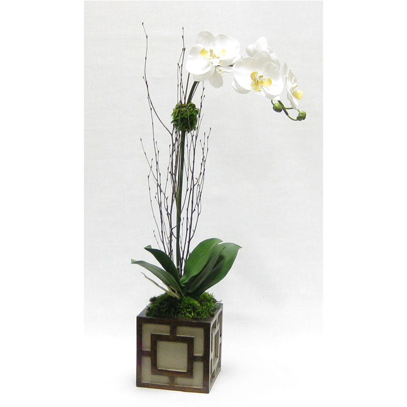 Wooden Mini Square Container w/ Square - Patina Distressed w/ Antique Bronze - White & Yellow Orchid Artificial
