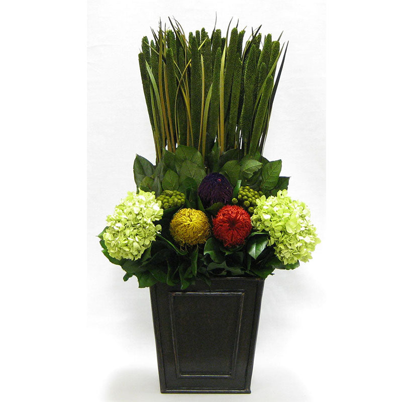 Wooden Narrow Flared Container Black Antique - Banksia Red, Purple, Yellow, Teasil Burgundy, Purple & Hydrangea Basil