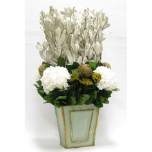 Load image into Gallery viewer, Wooden Narrow Flared Container Gray/Green - Integ, Banksia Gold, Brunia Gold, & Hydrangea White
