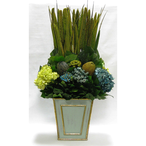 Wooden Narrow Flared Container Gray/Green - Moss Pensularia, Banksia, Pharalis & Hydrangea Basil & Natural Blue