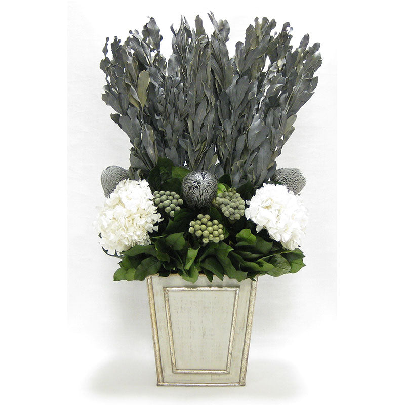 Wooden Narrow Flared Container Gray Silver - Integ Grey, Banskia Silver, Brunia Natural & Hydrangea White