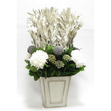 Load image into Gallery viewer, [WNFP-GS-IWBKBRHDW] Wooden Narrow Flared Planter Gray Silver - Integ White, Banksia Grey, Brunia Natural & Hydrangea White