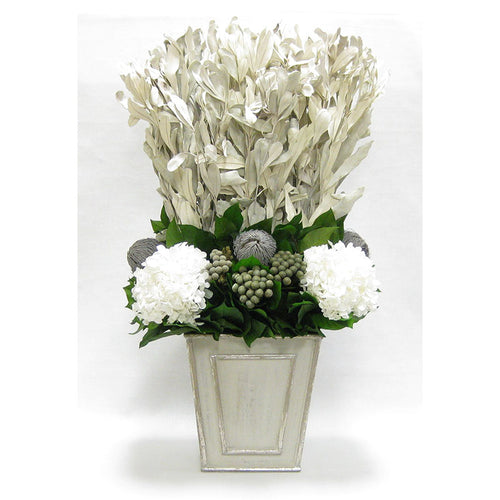 Wooden Narrow Flared Planter Gray Silver - Integ White, Banksia Grey, Brunia Natural & Hydrangea White