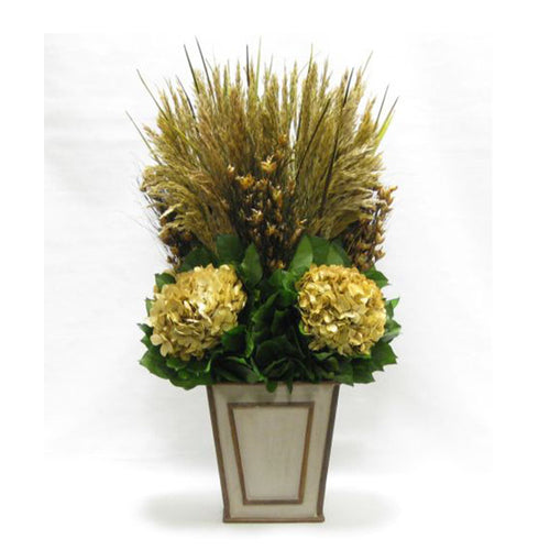 Wooden Narrow Flared Container - Patina Distressed w/ Bronze - Grass Plumes & Hydrangea Ivory