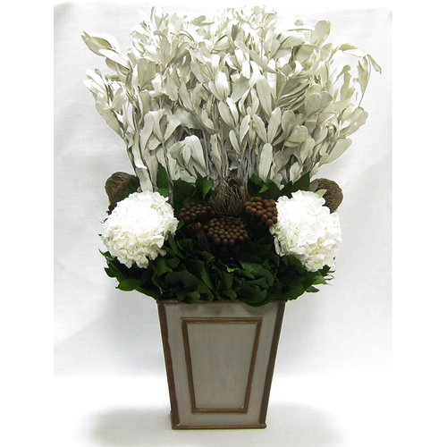 Wooden Narrow Flared Container - Patina Distressed w/ Bronze - Integ White, Banksia Bronze, Roses & Hydrangea White