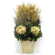 Load image into Gallery viewer, Wooden Narrow Flared Container Weathered Antique - Grass Plumes & Hydrangea Ivory