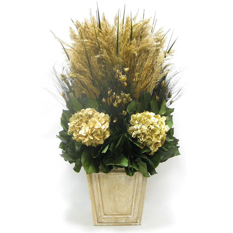 Wooden Narrow Flared Container Weathered Antique - Grass Plumes & Hydrangea Ivory