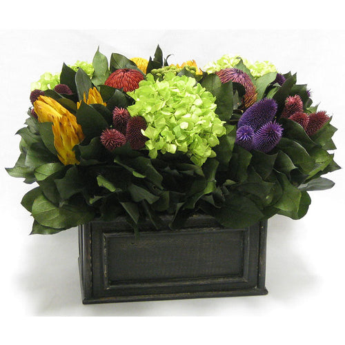 Wooden Rect Container Black Antique -  Banksia Red, Purple, Yellow, Teasil Burgundy, Purple & Hydrangea Basil